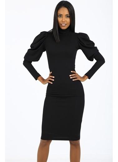 Emjey Kolları Balon Özel Tasarım Elbise Siyah